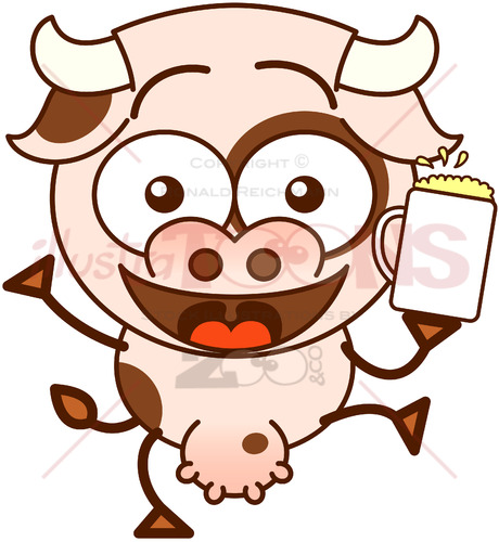 Happy cow celebrating with beer - illustratoons
