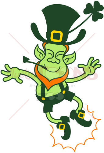 Happy green leprechaun clapping his feet in the air - illustratoons