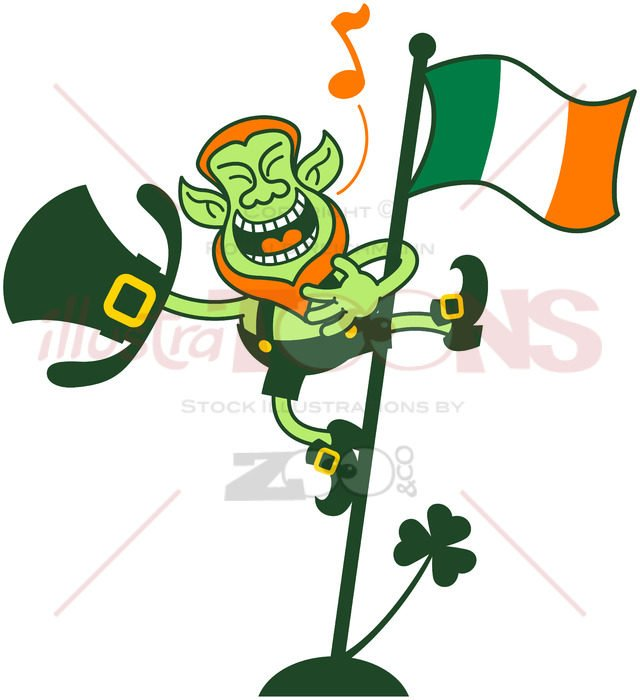 Irish Leprechaun Singing on a Flag Pole - illustratoons