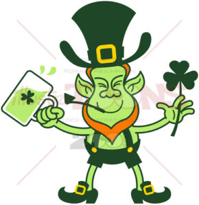 Irish Leprechaun celebrating with beer and a shamrock clover - illustratoons