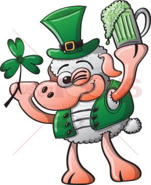 Irish sheep celebrating Saint Patrick's Day - illustratoons