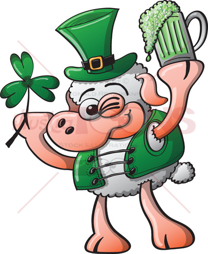 Irish sheep celebrating Saint Patrick's Day - illustratoons