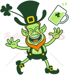 Joyful Leprechaun throwing a mug of beer - illustratoons