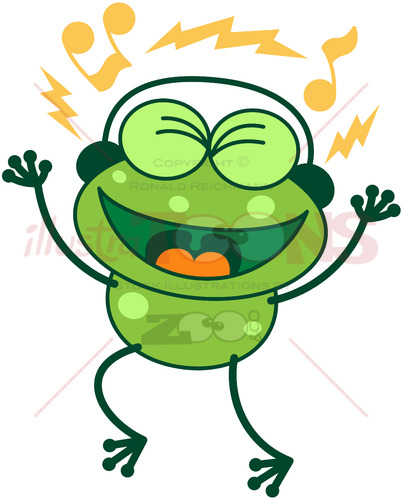 Leggy green frog wearing earphones - illustratoons