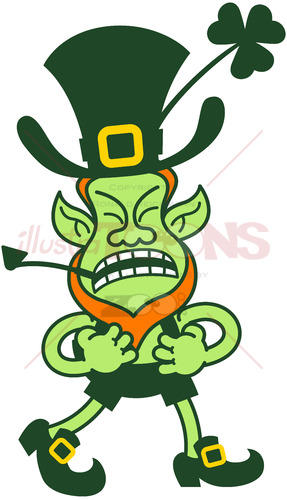 Leprechaun grumbling and clenching his fists - illustratoons