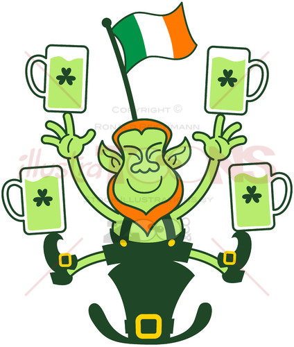Leprechaun juggling Irish flag and beer mugs - illustratoons