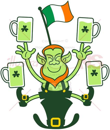 Leprechaun juggling Irish flag and beer mugs - illustratoons