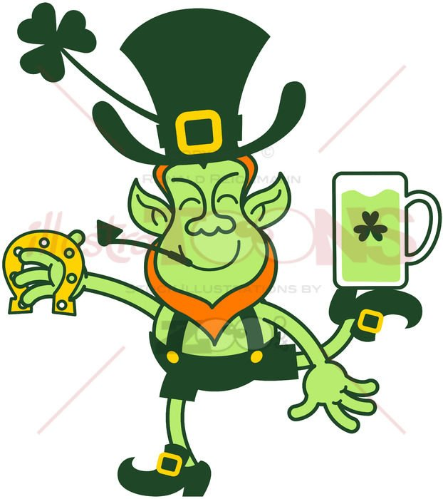Leprechaun juggling beer mug and horseshoe - illustratoons