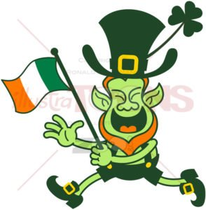 Leprechaun waving an Irish flag while running - illustratoons
