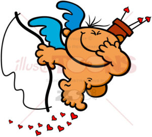 Mischievous Cupid having fun and smiling - illustratoons