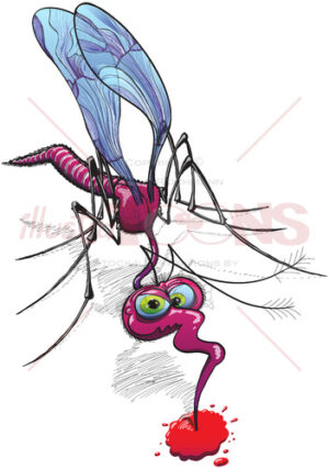 Mischievous mosquito sucking blood - illustratoons