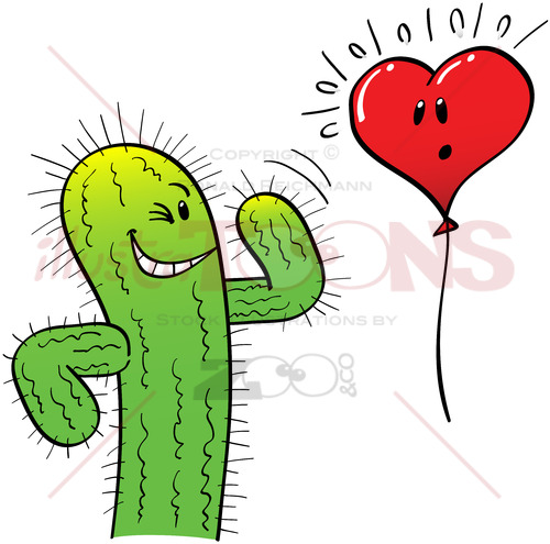 Naughty Cactus Attracting a Heart Balloon - illustratoons