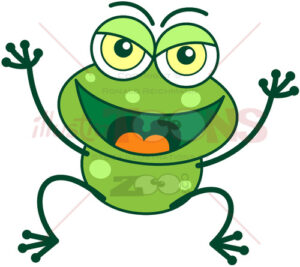 Naughty green frog celebrating a prank - illustratoons