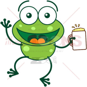 Nice green frog celebrating with beer - illustratoons