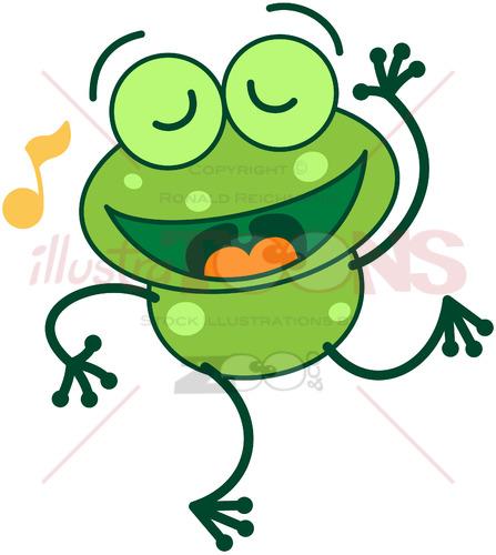 Nice green frog singing and dancing - illustratoons