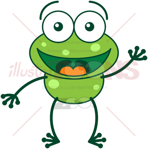Nice green frog waving and greeting - illustratoons