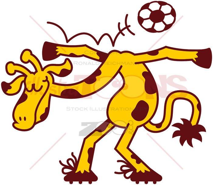 Nice talented giraffe playing soccer - illustratoons