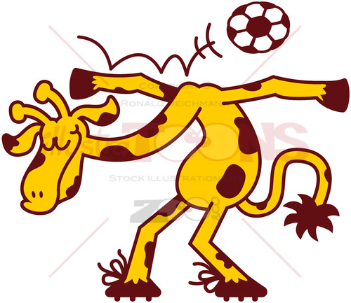 Nice talented giraffe playing soccer - illustratoons