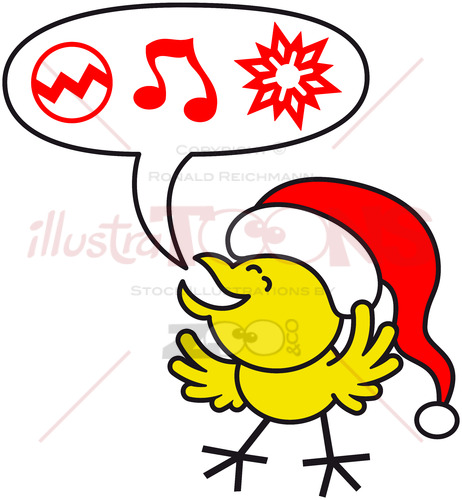 Nice yellow chicken making Christmas wishes - illustratoons