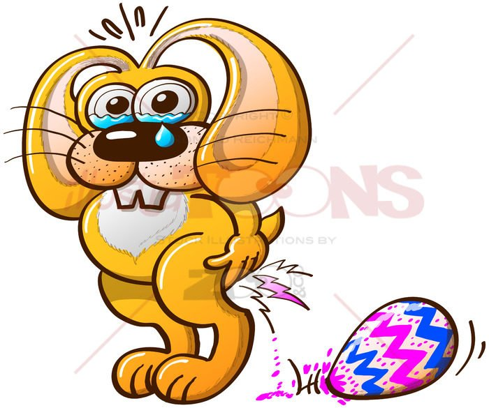 Painful Easter job for a cute yellow bunny - illustratoons