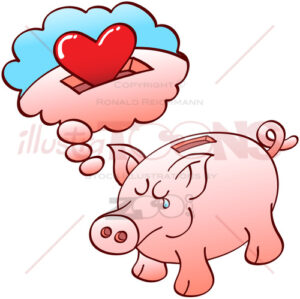 Piggy bank dreaming of hearts instead of coins - illustratoons