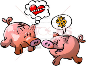 Piggy banks expressing opposite points of view - illustratoons