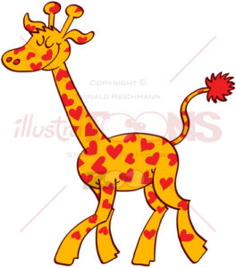 Proud giraffe wearing red hearts on its fur - illustratoons