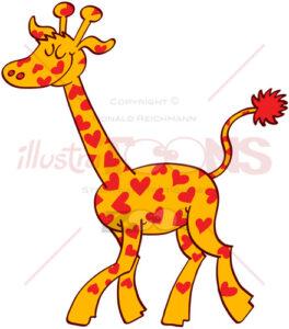 Proud giraffe wearing red hearts on its fur - illustratoons