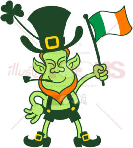 Proud leprechaun waving an Irish flag - illustratoons