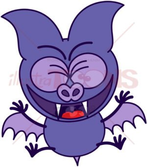 Purple bat celebrating animatedly - illustratoons