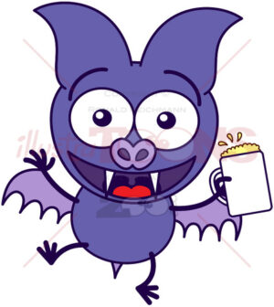 Purple bat celebrating with beer - illustratoons
