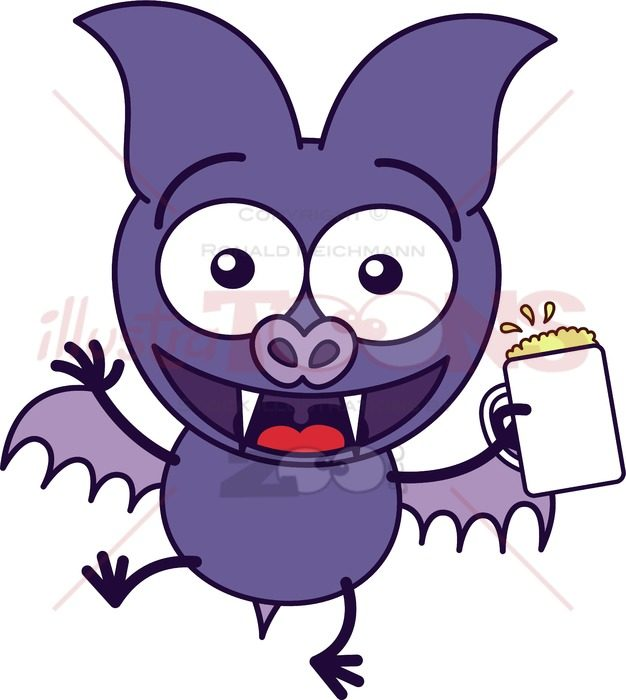 Purple bat celebrating with beer - illustratoons