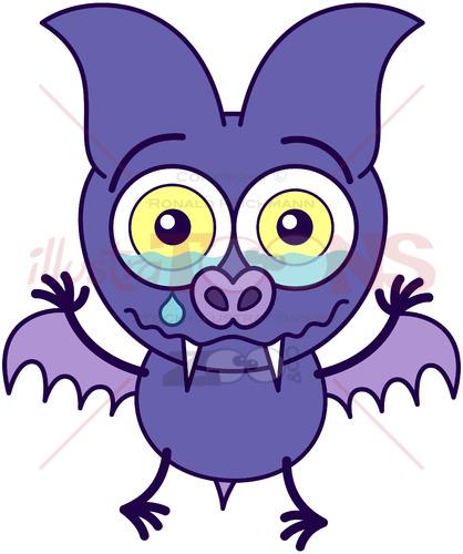 Purple bat crying and feeling sad - illustratoons