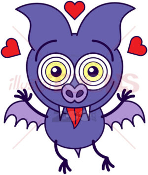 Purple bat feeling head over heels in love - illustratoons