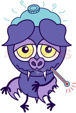 Purple bat feeling sick and sad - illustratoons