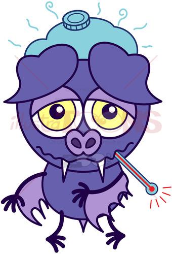 Purple bat feeling sick and sad - illustratoons