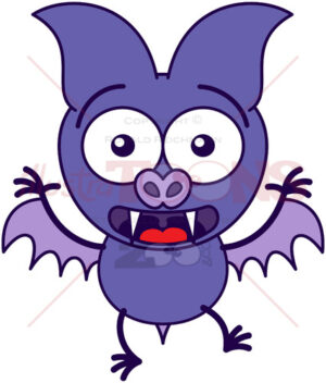 Purple bat feeling surprised and scared - illustratoons