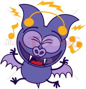 Purple bat listening to music and dancing - illustratoons