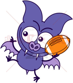 Purple bat playing football - illustratoons