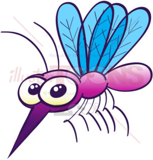 Purple mosquito looking disturbingly harmless - illustratoons