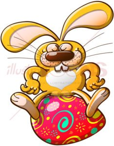 Rabbit proudly seated on an Easter egg - illustratoons