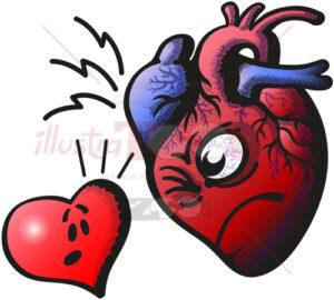Real heart against cartoon heart - illustratoons