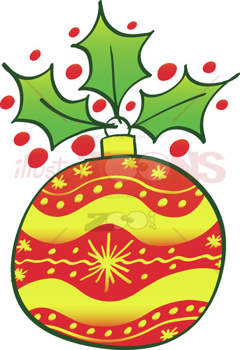 Red Christmas bauble with an evergreen holly