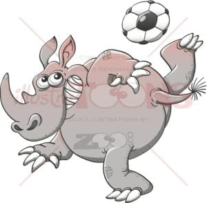 Rhinoceros playing soccer with great style - illustratoons