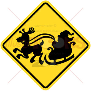 Road sign warning about Santa Claus presence - illustratoons