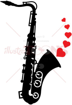 Romantic saxophone playing love melodies - illustratoons