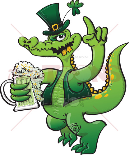 Saint Paddy's Day crocodile drinking beer - illustratoons