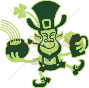 Saint Paddy's Day dancing Leprechaun - illustratoons