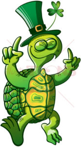 Saint Patrick's Day dancing green turtle - illustratoons