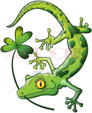 Saint Patrick's Day gecko holding a clover - illustratoons